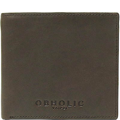 OBHOLIC 軍綠色牛皮男士錢包皮夾短夾(相框款)