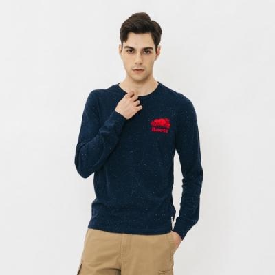 男裝Roots- 結粒沙長袖T恤-藍