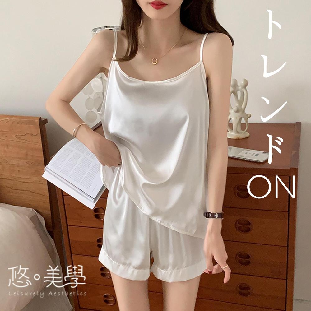 悠美學-日韓精梳棉居家個性吊帶純色造型套裝-5色(F)