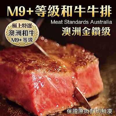 【海陸管家】金鑽級澳洲M9+和牛牛排(每片約200g) x8片