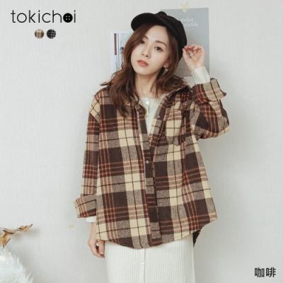 東京著衣 格紋控快來單邊口袋磨毛襯衫上衣(共二色)