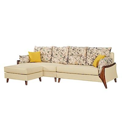 文創集 卡絲時尚L型沙發組合(四人座+椅凳)-266x166x77cm-免組