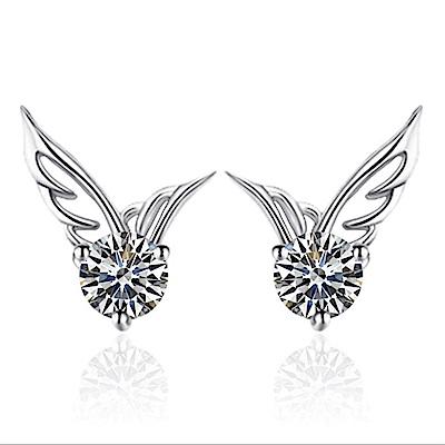 米蘭精品 925純銀耳環-鑲鑽天使之翼耳環