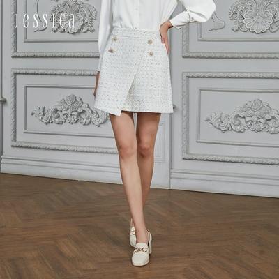 JESSICA - 氣質百搭不規則斜邊毛呢短裙