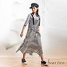 beartwo 條紋不規則拼接雙肩帶洋裝(黑色)