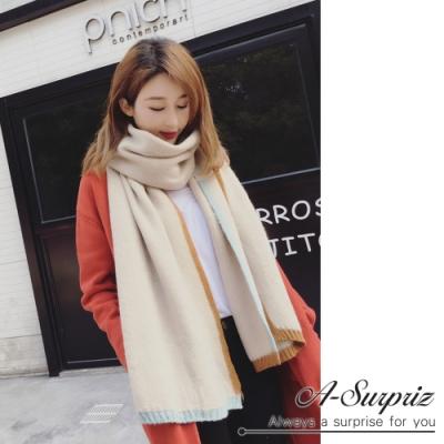 A-Surpriz  四邊雙色拼接厚織長版圍巾(米)