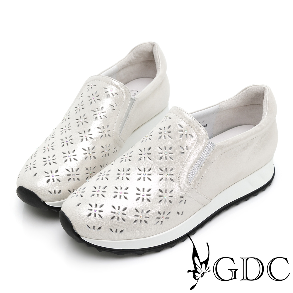 GDC-真皮簍空雕花舒適百搭素色厚底休閒鞋-銀色