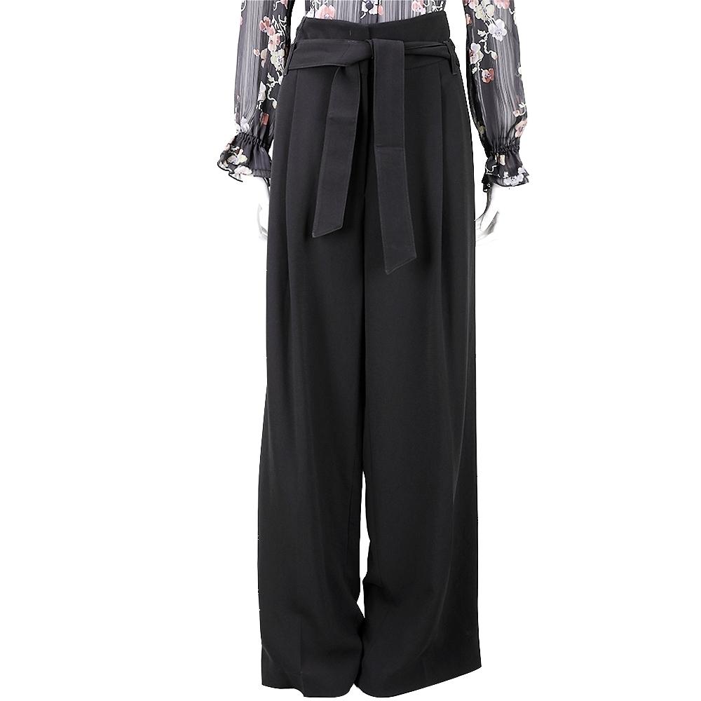 Max Mara-WEEKEND 時髦黑色綁帶寬版落地長褲