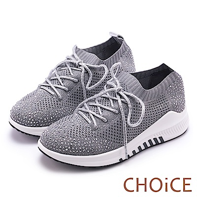 CHOiCE 華麗運動風 網布水鑽休閒鞋-銀色