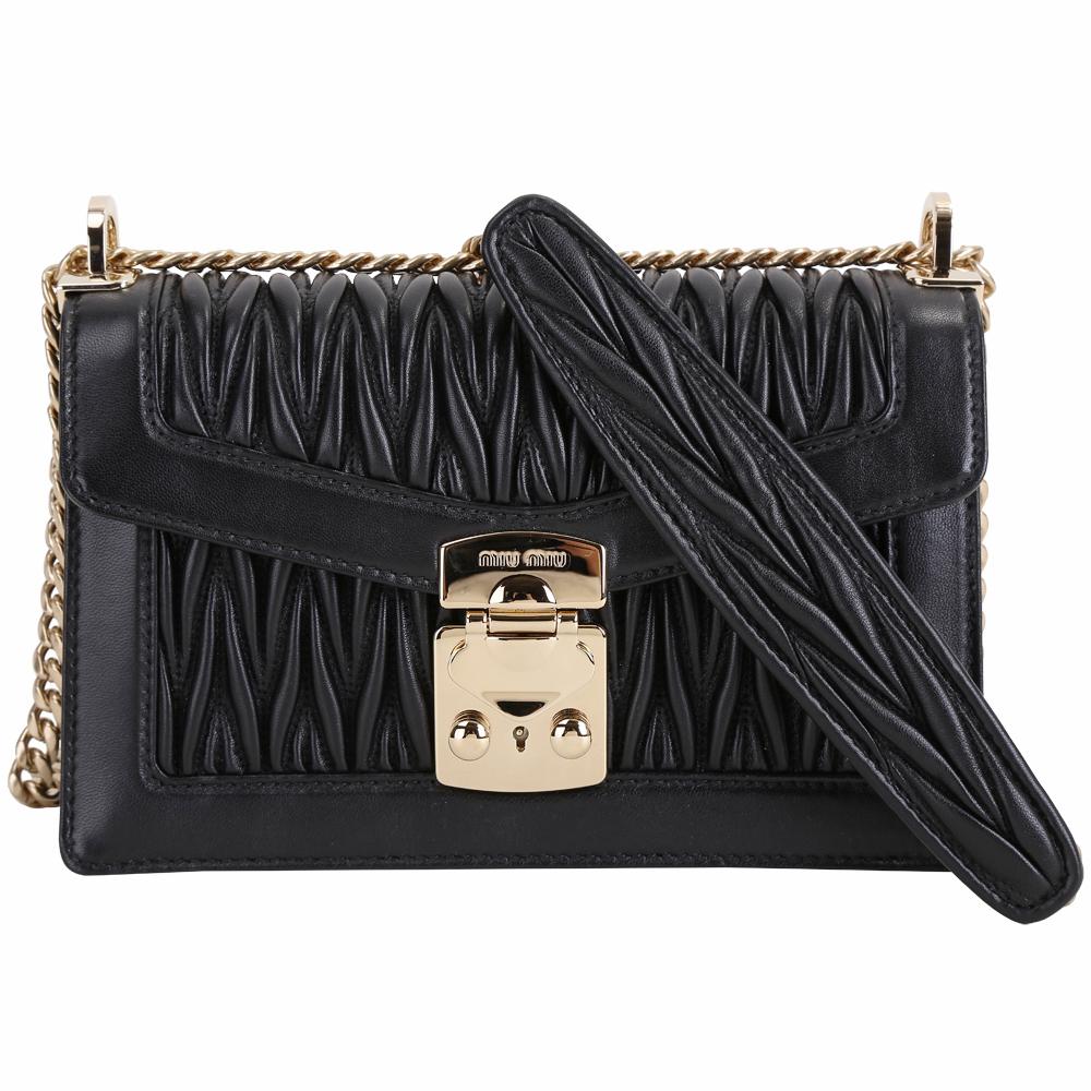 miu miu MIU CONFIDENTIAL 皺褶納帕羊皮鍊帶包(黑色) @ Y!購物