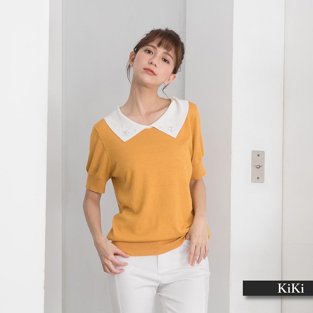 【KiKi】水鑽設計配色領片-針織衫(三色/版型適中/魅力價格)
