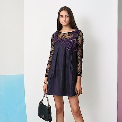 ICHE 衣哲 3D蕾絲假兩件拼接長袖紫洋裝