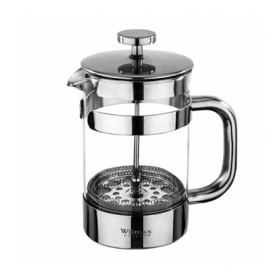 英國 WILMAX 不鏽鋼法式濾壓耐熱玻璃茶壺 800 ML