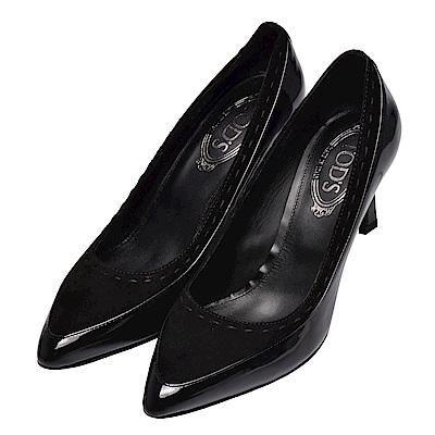 TOD?S 經典牛皮麂皮拼接高跟鞋(黑)
