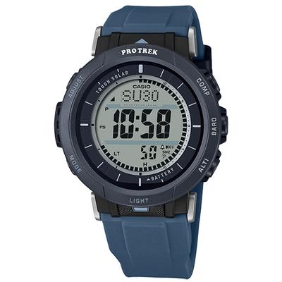 PRO TREK CASIO 卡西歐 太陽能 戶外登山系列 三重傳感器 防水 手錶-黑藍色/43mm