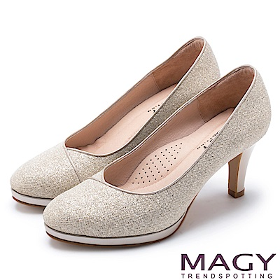 MAGY 夢幻新娘鞋款 特殊鑽石光澤高跟鞋-金色
