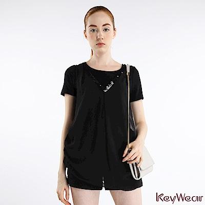 KeyWear奇威名品     低調奢華多層次顯瘦短袖上衣-黑色