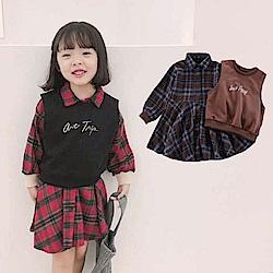小衣衫童裝  中小女童英倫風格子襯衫裙搭小背心套裝1071106