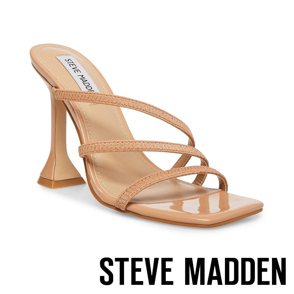 STEVE MADDEN-FLARED 優雅曲線細帶馬蹄跟造型方頭粗跟鞋-卡其