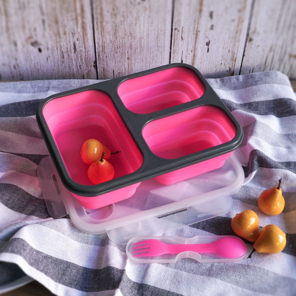 Homely Zakka 伸縮收納矽膠分隔保鮮便當餐盒-桃色