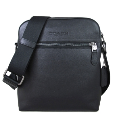 COACH 壓印Logo荔枝紋全皮革直立式飛行斜背包(黑色)