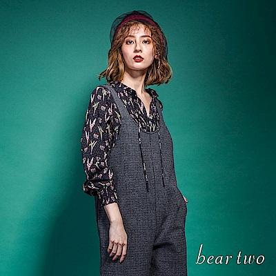 beartwo 浪漫V領抓皺氣質造型上衣(黑色)
