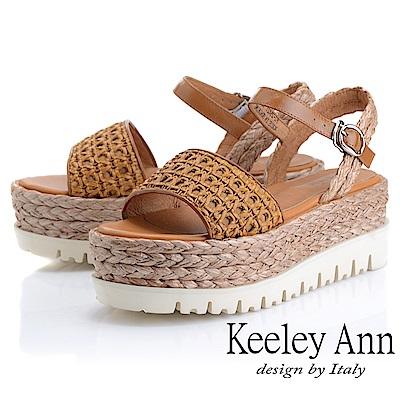 Keeley Ann簡約一字帶 牛皮編織厚底涼鞋(棕色-Ann系列)