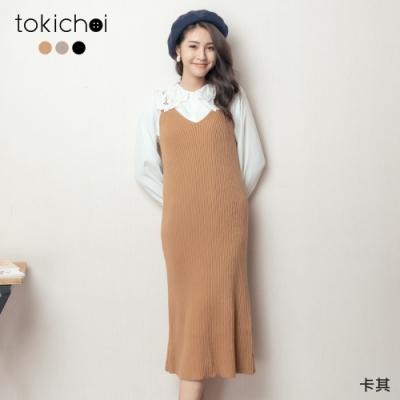 東京著衣 小姊姊細肩V領直坑條後開衩多色針織洋裝(共三色)