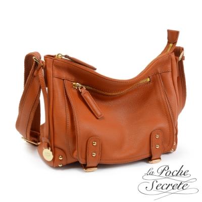 La Poche Secrete 簡約經典Leather學院包-焦糖咖