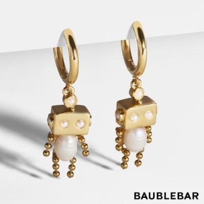 美國 BaubleBar 可愛機器人珍珠鍍金耳環 Roboto Pearl Huggie Earrings