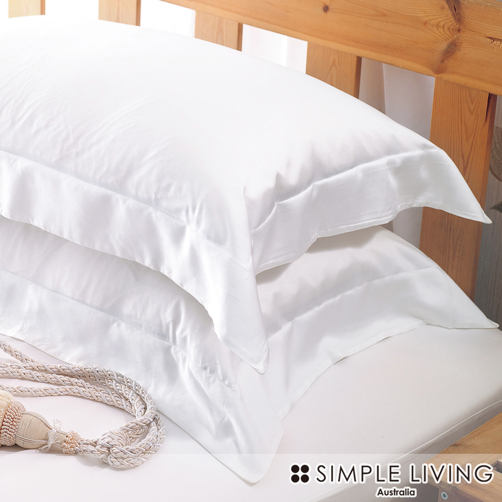 澳洲Simple Living 加大600織台灣製埃及棉床包枕套組(優雅白)