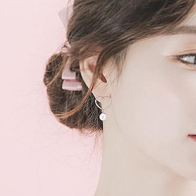 梨花HaNA 韓國925銀愛心鏤空珍珠女孩甜心耳環