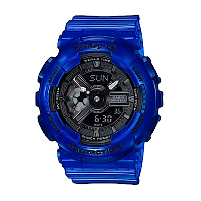 BABY-G海洋生態設計風格透明果凍色系雙顯運動錶(BA-110CR-2)藍/43.4mm