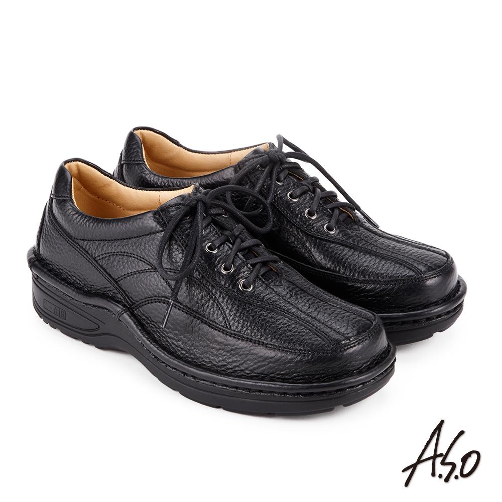 A.S.O 抗震雙核心 綁帶奈米氣墊休閒皮鞋 黑