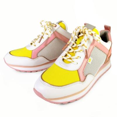 MICHAEL KORS MADDY TRAINER 玫瑰金字LOGO異材質混搭內增高休閒鞋(日光黃)