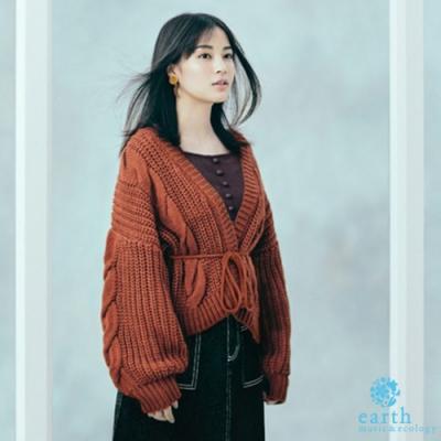 earth music 廣瀨鈴企劃款 - 粗麻花辮鉤織綁帶蓬袖開襟罩衫