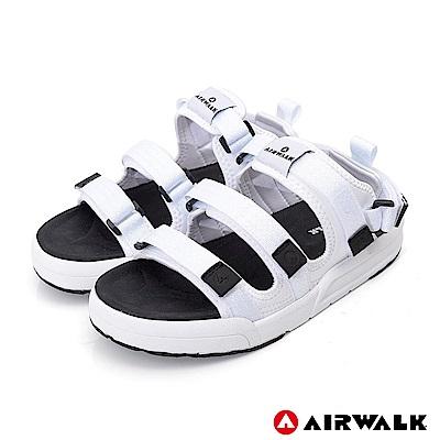 【AIRWALK】魔鬼氈增高二穿式涼鞋-白色