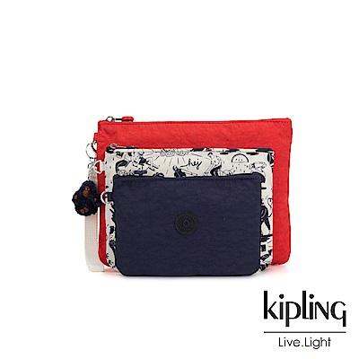Kipling 經典法式塗鴉多袋實用配件包-IAKA L WRISTLET