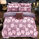 羽織美 百合盛開 雕花水晶絨雙人鋪棉床包被套組