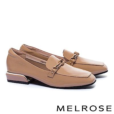 低跟鞋 MELROSE 經典知性交織條細帶全真皮樂福低跟鞋-米