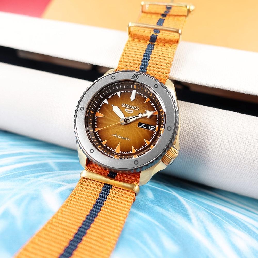 SEIKO 精工 限量款 5 Sports 機械錶 火影忍者 漩渦鳴人 尼龍帆布手錶-藍橘色/41mm