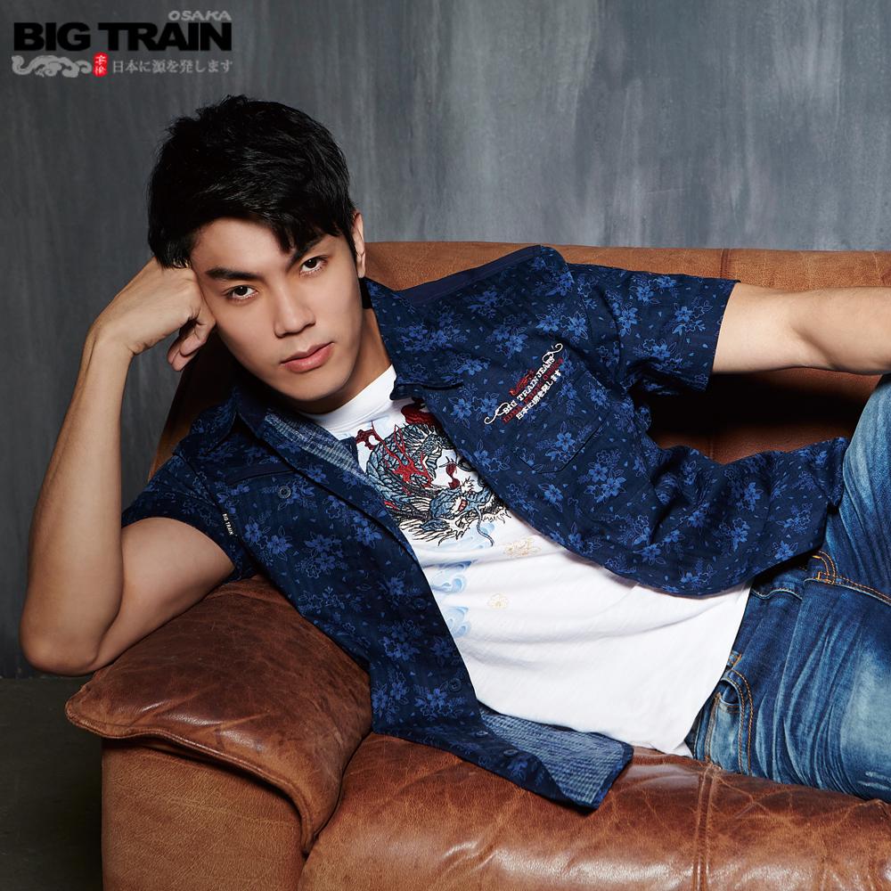 Big Train 加大和風印花短袖襯衫-男-藍底淺藍