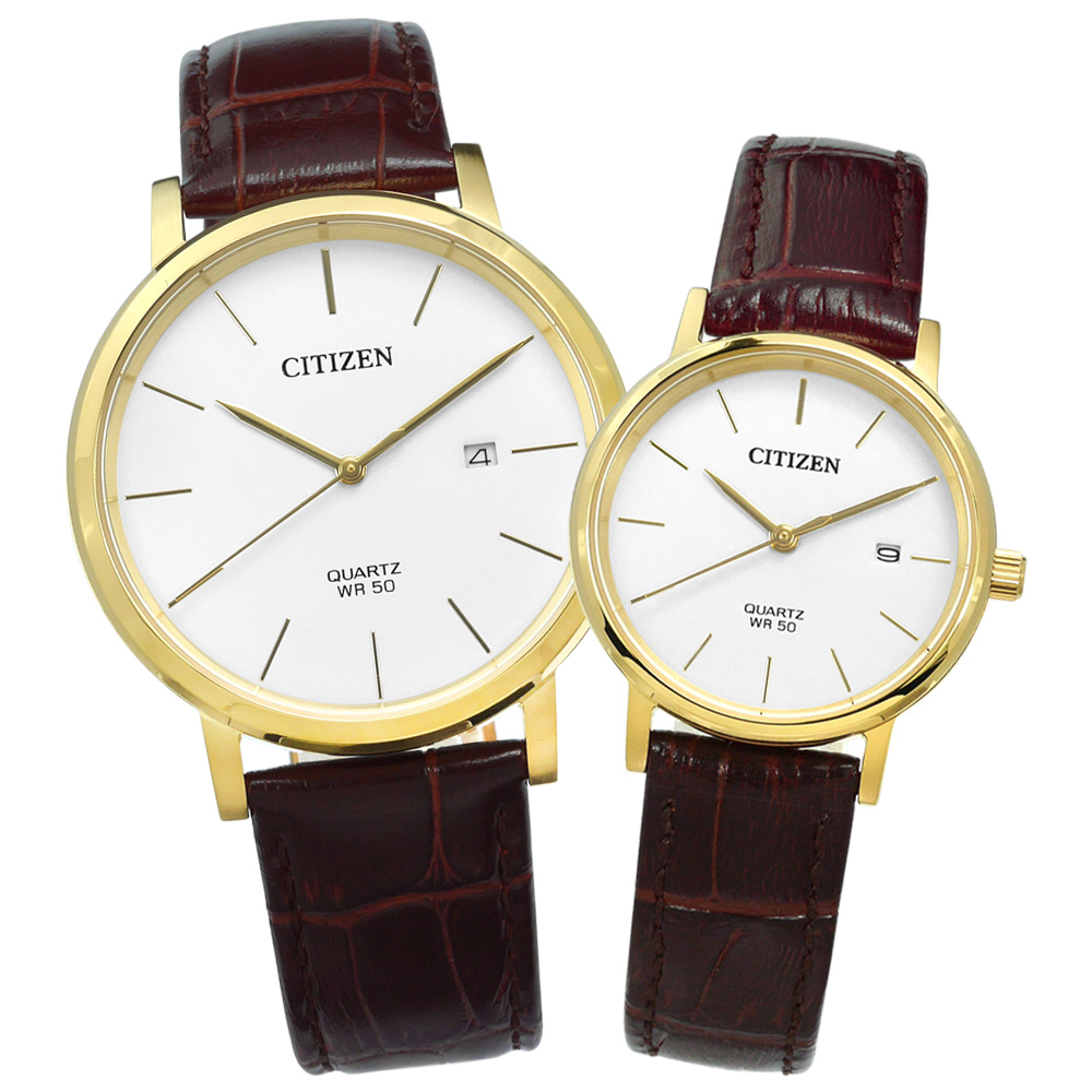 CITIZEN 輕薄簡約日期真皮情人對錶-白x金框x咖啡/41+28mm