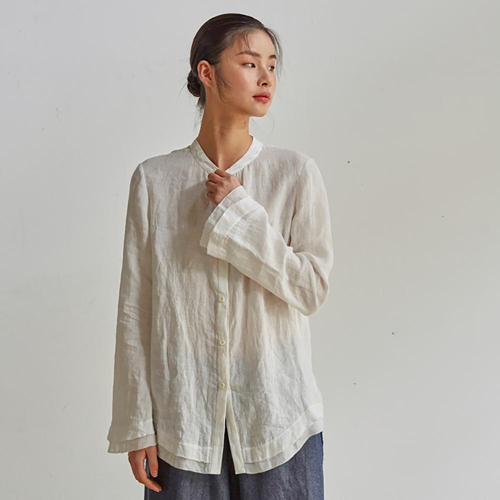 旅途原品_雲心_原創設計亞麻荷葉邊喇叭袖襯衫-白/綠