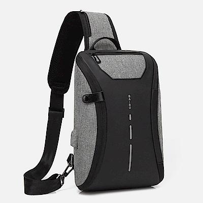 USB充電防盜胸包/單肩包/斜背包(黑灰)