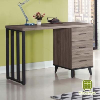 漢妮Hampton羅瑞爾系列古橡色4尺三抽書桌-直抽-121x56x80.7