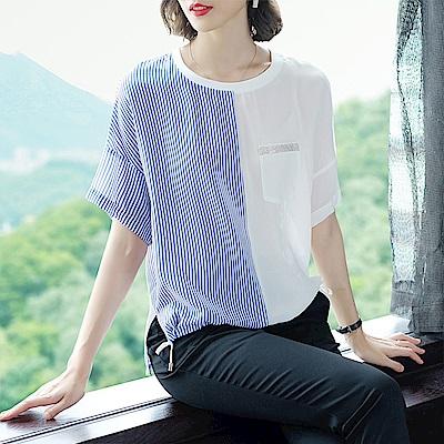 綻放  條紋拼接寬鬆短袖上衣-共2色-(M-XL可選)