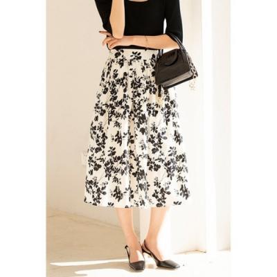 輕熟甜美經典黑白色系印花高腰中裙S-L-沐朵