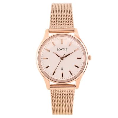 LOVME 文青時尚米蘭手錶-IP玫x灰/33mm