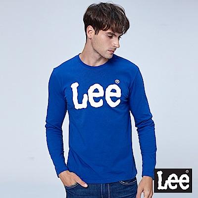 Lee LEE 撞色LOGO長袖圓領Tee-寶藍色